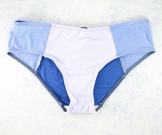SMALL - LOLA WideHipster cut, unique, upcycle and handmade panties hand dyied