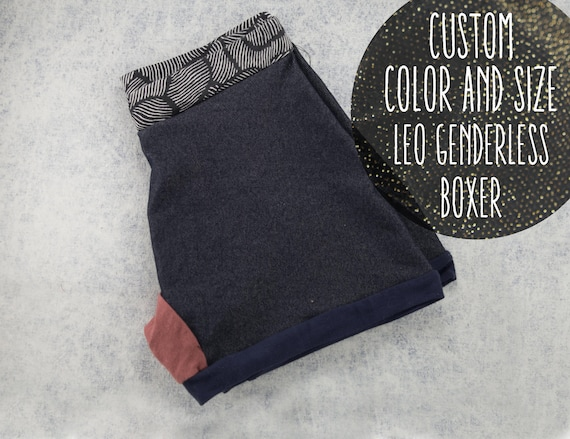 CUSTOM size and colors - LEO handmade genderless boxer made in Quebec from upcycle materials