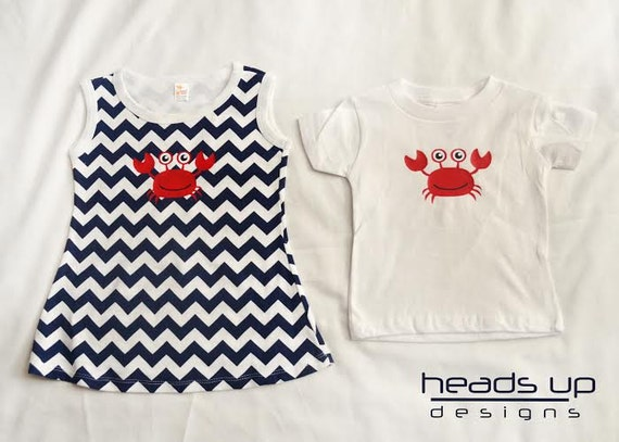 b933f6107f2b Twin Beach Clothes Coordianting Crab Twin Boy Girl Matching