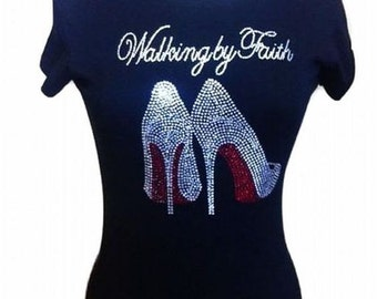 Walking  by faith black  t shirt