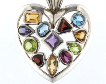 Multicolor Sterling Heart Pendant