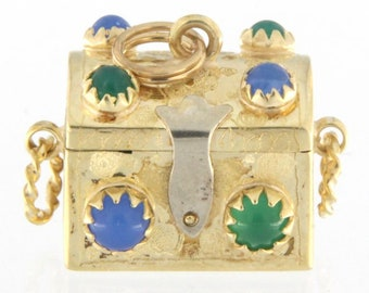 Treasure Chest Women's Charm 14kt Yellow Gold