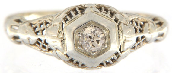Women's Solitaire ring 10kt White Gold - image 1