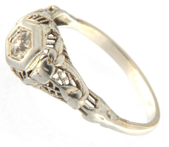 Women's Solitaire ring 10kt White Gold - image 4