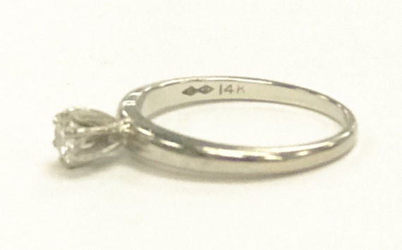 Women's Solitaire ring 14kt White Gold  - image 3