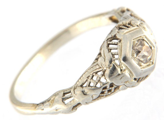 Women's Solitaire ring 10kt White Gold - image 3