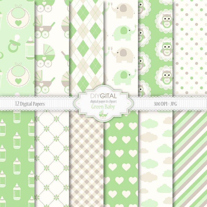 Beige E Verde Verde Baby Digitale Carta Set 12 Sfondi Con Etsy