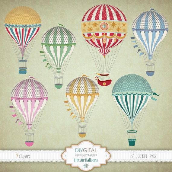 Vintage Hot Air Balloons Clip Art Set 7 Printable Cliparts