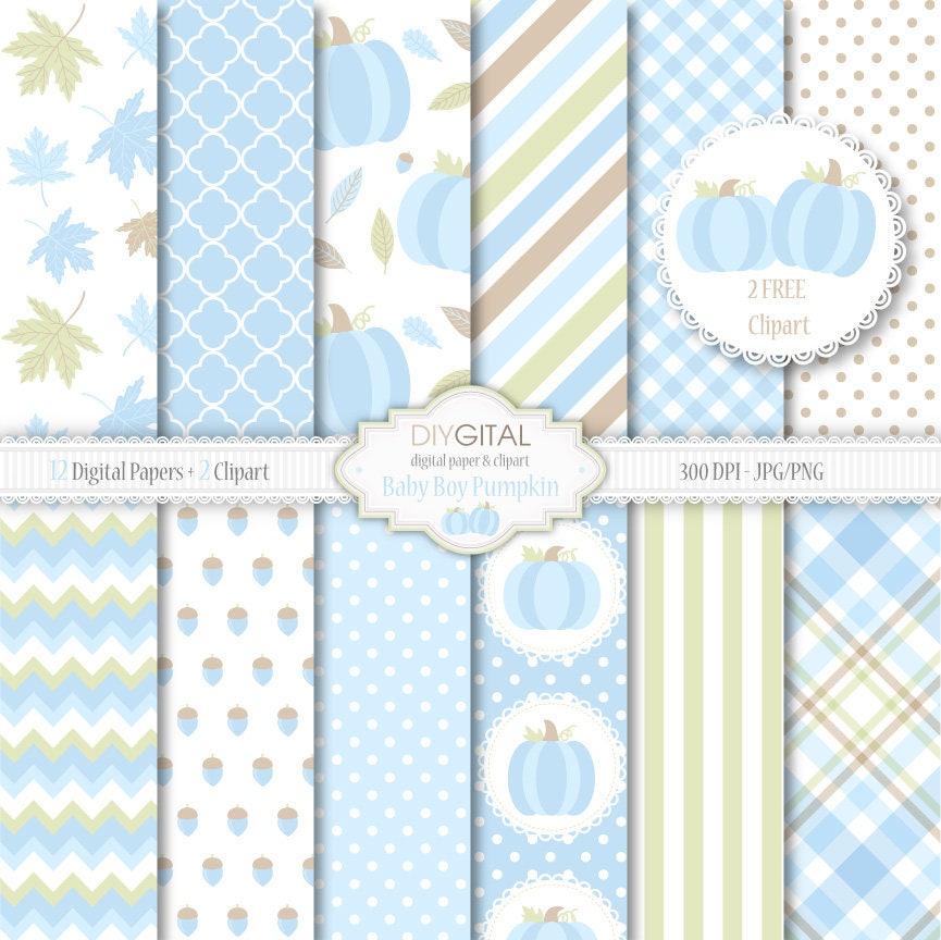 Bebé niño calabaza 12 azul digitales papeles con calabazas | Etsy