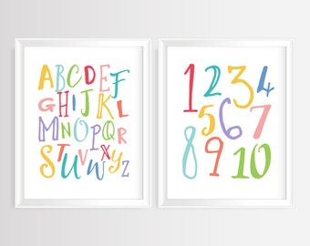 "Nursery Alphabet & Numbers- ABC and 123 printable wall art- Alphabet Art, Kids Room, Alphabet poster,  set of 2- 8x10""- Instant Download"