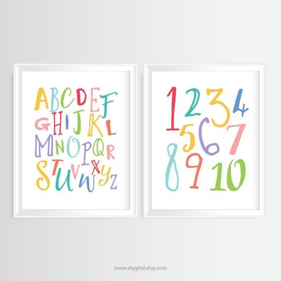 Alfabeto de vivero & números ABC y 123 pared para imprimir | Etsy