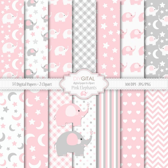 Elefantes color de rosa bebé niña Digital papel conjunto dos | Etsy
