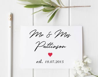 Mrs and Mrs, Est. on Anniversary Card or Wedding Card, Handmade Anniversary Card, Personalised Wedding Card, Handmade 1st Anniversary Card