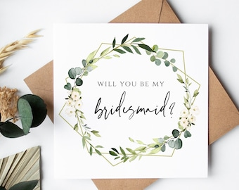 Will you be my Bridesmaid Card, Proposal Cards for Bridesmaids, Will you be My Maid of Honour, Botanical Bridesmaid Cards