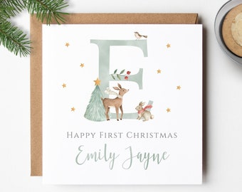 Baby's First Christmas Card, Personalised Baby's 1st Christmas Card with Watercolour Woodland Initial, Deer, Rabbit, Bird