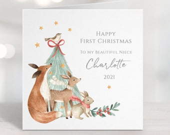 Babys First Christmas Card, Personalised Baby's 1st Christmas Card for Daughter, Son, Niece, Grandson, Granddaughter, Nephew, Woodland Fox