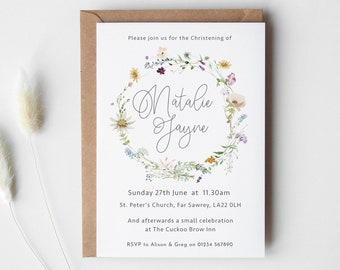 Christening or Naming Day Invites, Personalised Invitations, Baptism, Girl's Christening or Baby's Naming Day, Wild Flower Invitations