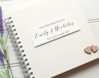 Rustic Wedding Guest Book with Wooden Hearts. Personalised Ivory Guestbook or Scrapbook Album