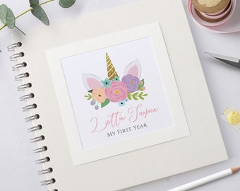 Unicorn Personalised Baby Scrapbook Album, Handmade Baby's First Year Record Book, Pink and Gold Unicorn