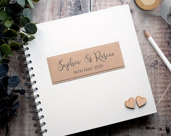 Personalised Rustic Wedding Guest Book with Wooden Hearts, Handmade Rustic Guestbook, Photobooth or Instax Guest Book