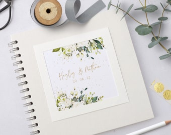 Personalised Wedding Guest Book, White Rose & Gold Guestbook, Handmade Floral Wedding Scrapbook