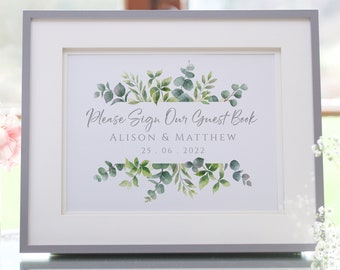 Please Sign Our Guest Book, Personalised Wedding Guestbook Sign, UNFRAMED Printed A5 or A4 Sign, Eucalyptus Leaf Print