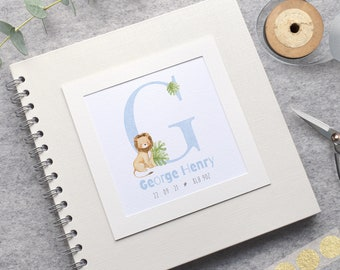 Lion Personalised Baby Scrapbook Album, Baby's First Year Record Book or Handmade Christening Guestbook, Safari Animal Initial