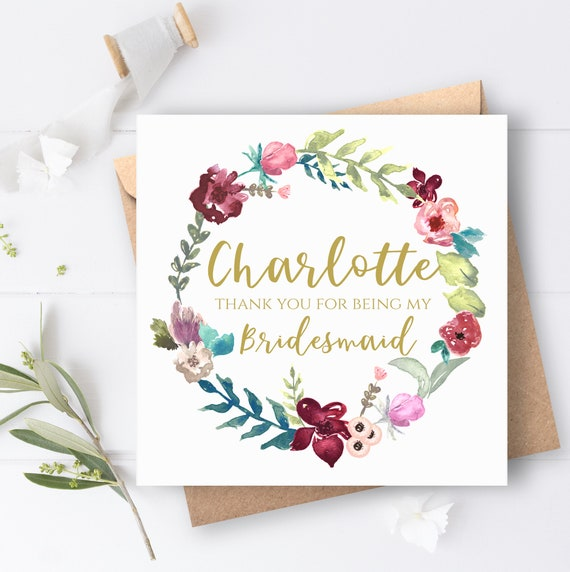 Bridesmaid Thank You Card Personalised For Bridesmaids Maid Of