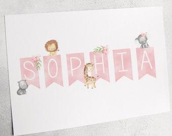 Safari Baby Name Print, Pink Nursery Decor, Girl's Nursery, Personalised Nursery Wall Art, UNFRAMED A4 Print