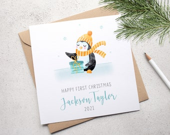 Baby's First Christmas Card, Personalised Baby Boy's 1st Christmas Card, Handmade Card, Blue Penguin Card