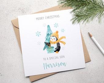 Personalised Son Christmas Card, Boy's Christmas Card Grandson Card, Nephew Card, Brother Card, Blue Penguin Xmas Card