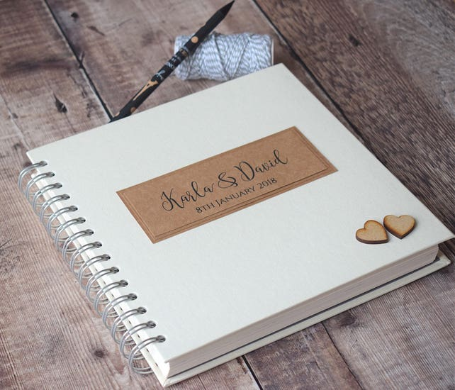 Vintage Lace Wedding Guest Book Personalised Ivory Guestbook