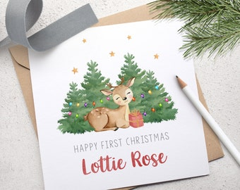 Babys First Christmas Card, Personalised Baby's 1st Christmas Card, Woodland Deer Baby Christmas Card, Handmade Card