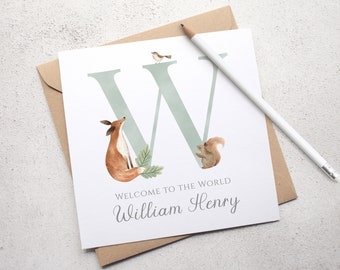 Woodland Fox New Baby Card, Personalised Baby Card, Fox Card, Congratulations Card, Woodland Animals, Baby's Initial Card