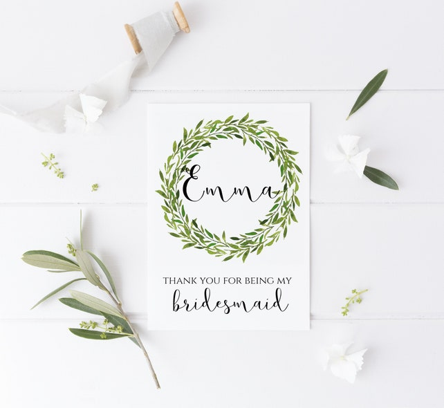 Botanical Laurel Bridesmaid Thank You Card Maid Of Honour Honor