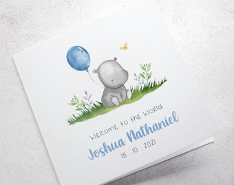 Hippo New Baby Boy Card, Personalised New Baby Card, Welcome to the World, Congratulations Card, Blue Card