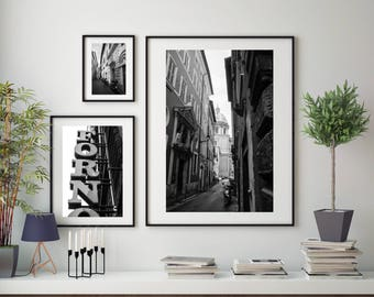Black and White Rome City Architecture Street Photography, Large Format Photo Prints, Matted Photo Print Set of 3, Rome Street Wall Decor