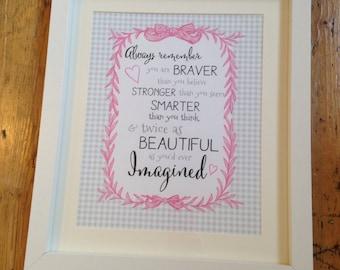 Girls bedroom quote print art