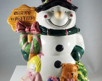 Christmas Snowman Cookie Jar (918)