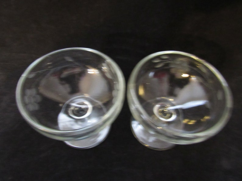 Etched Stemware Dessert Cups Barware Champagne Glasses Tall Sherbets Set of 2 2073