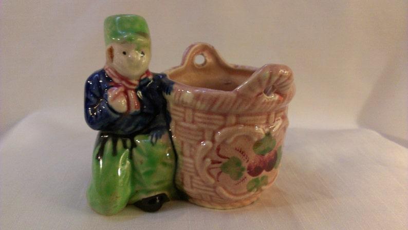 744 Vase Dutch Boy with Basket Planter