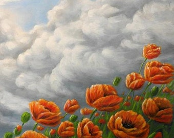 Orange poppys, original painting, stormy sky, oriental poppys