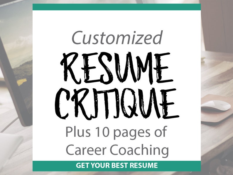 Resume Critique Professional Resume Template And Guide Etsy