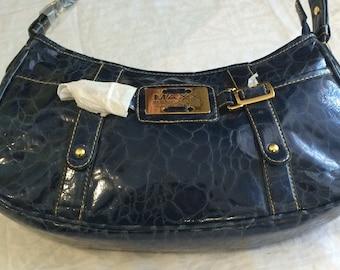 3ff1958a1f22 Maxx New York Signature Handbag Blue Alligator Cobbled patent Leather