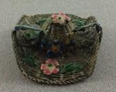 Antique Chinese Silver Metal Filigree Enamel Hat Brooch Jewelry 1900s