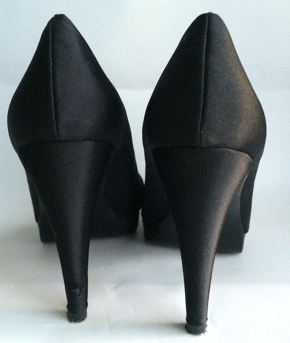 black satin platform heels