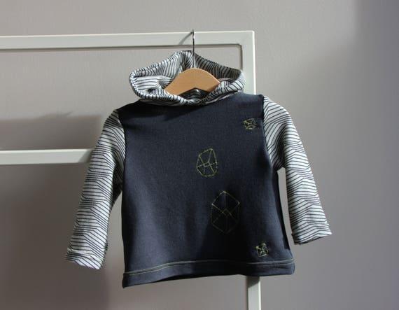 Bébé Unisexe Sweat-shirt coton hoodies, vêtements, bébé 12-18 mois de taille, bébé cadeau idée, à la main en Italie. NICOUTURE.