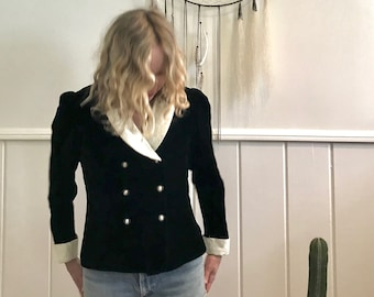 Vintage 80's black velvet jacket ~ small
