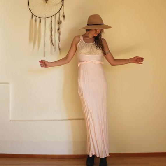 Vintage 40s Pale Pink Bias Slip Dess - image 2