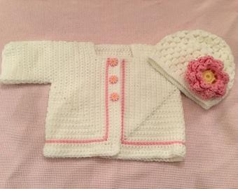 Light or Bright Pink Daisy sweater set